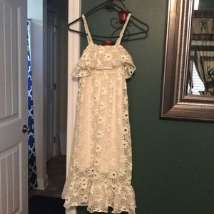 Girls White Lacey spaghetti strap dress
